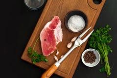 Raw fresh meat Striploin steak Royalty Free Stock Images