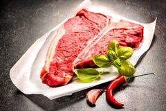 Raw fresh meat T-bone steak Stock Photos