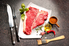 Raw fresh meat T-bone steak Stock Images