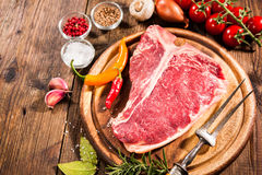 Raw fresh meat t-bone steak Royalty Free Stock Photos