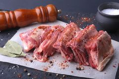 Raw fresh meat, uncooked lamb or beef ribs with pepper, garlic, salt, bay leaves and spices on dark stone background. Ready for cooking. copy space Stock Images