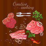 Raw fresh meat on wooden table beef and pork steak. Vector illustration royalty free illustration