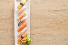 Raw and fresh nigiri sushi in white plate. Japanese food style Stock Photo