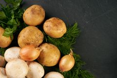 Raw fresh onions, potatoes, garlic, mushroom. Greens and seasoning on dark stone background with copy space. Top view ingredients for cooking a delicious cream Royalty Free Stock Photography