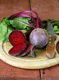 Raw fresh organic beets. With green leaves Royalty Free Stock Photography