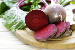 Raw fresh organic beets. With green leaves Royalty Free Stock Photo