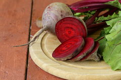 Raw fresh organic beets. With green leaves Stock Photography