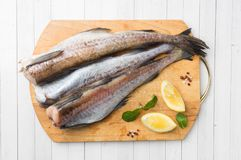 Raw fresh Pollock fish on a wooden Board with lemon.  stock images