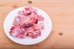 Raw fresh pork bones, a common ingredients in Chinese cooking Stock Image