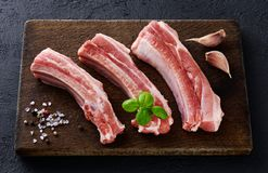 Raw fresh pork ribs, basil, garlic, pepper and salt. On a dark wooden background. Top view royalty free stock images