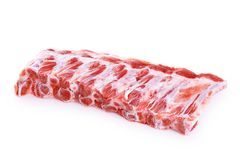 Raw fresh pork ribs isolated on white background. With clipping path Stock Photos