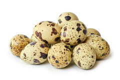Raw and fresh Quail eggs. Isolated on a white background Royalty Free Stock Photo