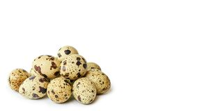 Raw and fresh Quail eggs. Isolated on a white background. copy space, template.  Stock Photos