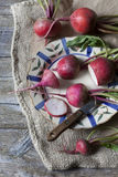 Raw fresh red turnips on rustic background Royalty Free Stock Image