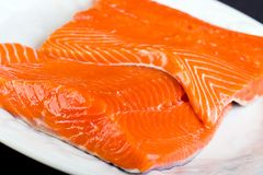 Raw Fresh Salmon. Fresh, Raw Alaskan Chinook Salmon Fillet Royalty Free Stock Photo