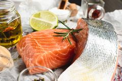 Raw and Fresh Salmon Fillet with Lime and Aromatic Herbs. And Spices royalty free stock photo