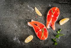 Raw fresh salmon fish Stock Photo