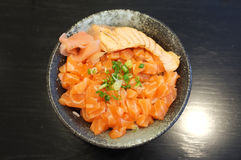Raw and fresh salmon meat and salmon roe Royalty Free Stock Image