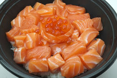Raw and fresh salmon meat and salmon roe Stock Photos
