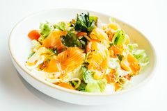 Raw fresh salmon meat sashimi with vegetable salad Royalty Free Stock Images