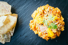 Raw fresh salmon meat tartare in black plate Stock Images