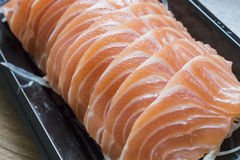 Raw fresh Salmon Sashimi meat, close-up Stock Image