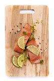 Raw Fresh salmon with spices Royalty Free Stock Photo