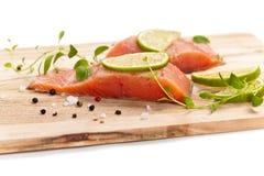 Raw Fresh salmon with spices Royalty Free Stock Photos