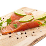 Raw Fresh salmon with spices Stock Photography