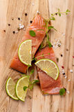 Raw Fresh salmon with spices Royalty Free Stock Images