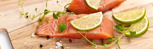 Raw Fresh salmon with spices Royalty Free Stock Image