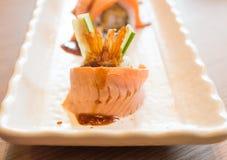 Raw fresh Salmon sushi roll maki Stock Photos