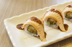 Raw fresh Salmon sushi roll maki Royalty Free Stock Photography