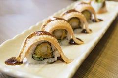 Raw fresh Salmon sushi roll maki Stock Images