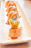 Raw fresh Salmon sushi roll maki Stock Photography
