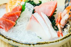 Raw and fresh salmon tuna and other sashimi fish meat Royalty Free Stock Images