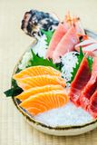 Raw and fresh salmon tuna and other sashimi fish meat Royalty Free Stock Photo