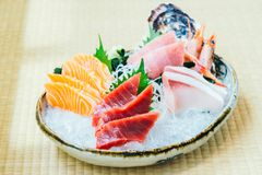 Raw and fresh salmon tuna and other sashimi fish meat Stock Photography