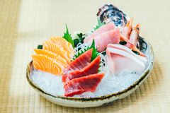 Raw and fresh salmon tuna and other sashimi fish meat Stock Photos