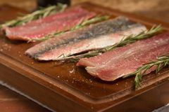 Raw Fresh Sardine Fillet. Over a wooden board Royalty Free Stock Images