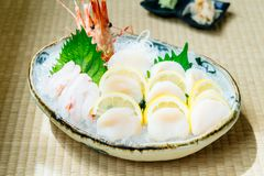 Raw and fresh sashimi set with hotate oyster and prawn or shrimp. Japanese food style Stock Images