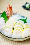 Raw and fresh sashimi set with hotate oyster and prawn or shrimp. Japanese food style Royalty Free Stock Images