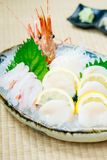 Raw and fresh sashimi set with hotate oyster and prawn or shrimp. Japanese food style Stock Photography