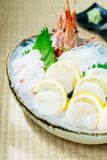 Raw and fresh sashimi set with hotate oyster and prawn or shrimp. Japanese food style Royalty Free Stock Photography