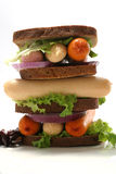 Raw fresh sausages in sandwich Royalty Free Stock Images