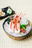 Raw and fresh shrimp or prawn sashimi. Japanese food style Royalty Free Stock Photos