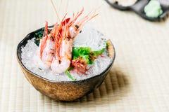 Raw and fresh shrimp or prawn sashimi. Japanese food style Stock Images