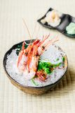 Raw and fresh shrimp or prawn sashimi. Japanese food style Royalty Free Stock Images