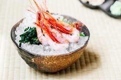 Raw and fresh shrimp or prawn sashimi. Japanese food style Royalty Free Stock Photo