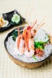Raw and fresh shrimp or prawn sashimi. Japanese food style Royalty Free Stock Image